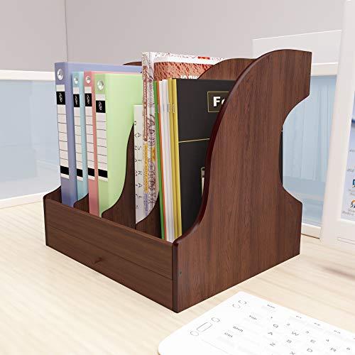 PUNCIA Escritorio de Oficina Madera Ajustable Revistas Libros Almacenamiento de Bandeja Cartas y Soporte Papel A4 Multifuncional con Cajones Organizador de Archivos para Documentos Organizador
