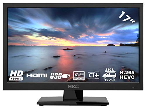 HKC 17H2 LED TV (17 pollici HD TV) Triple Tuner, CI+, Media Player, HDMI+USB, Caricabatteria da auto 12V