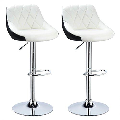 WOLTU BH30ws-2 Design 2 farbig Barhocker mit Griff, 2er Set, stufenlose Höhenverstellung, verchromter Stahl, Antirutschgummi, pflegeleichter Kunstleder, gut gepolsterte Sitzfläche, weiß+schwarz
