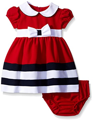 Bonnie Baby Baby Peter Pan Collar Nautical Dress and Panty Set, Red, 24 Months