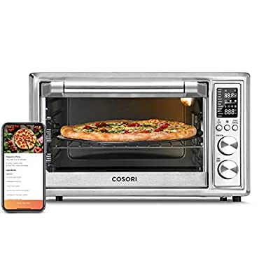 COSORI 12-in-1 Air Fryer Toaster Combo, Convection Countertop Oven with Rotisserie, Dehydrator & Pizza, 100 Recipes & 6 Accessories, 30L, 31.7 QT-Silver Smart