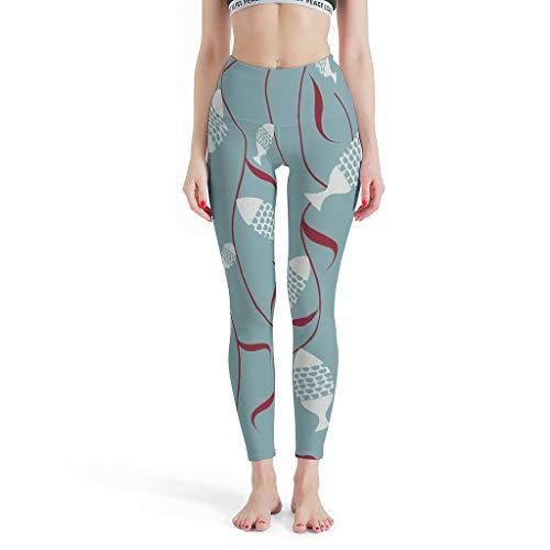 WJunglezhuang Womens volledige lengte Yoga Legging blauwe vis zachte compressie Legging voor Pilates Gym