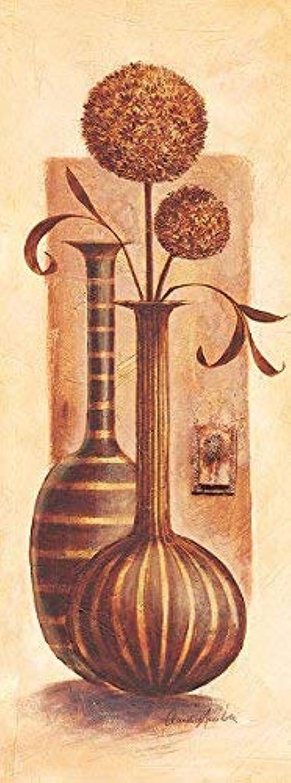 Keilrahmen-Bild - Claudia Ancilotti  Montalcino 30 x 80 cm Leinwandbild Stilleben mit Vasen und TrockenBlaumen beige braun zeitlos B01N0Z65FJ