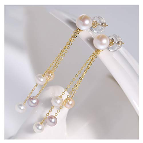 OMTONGXIN Pendientes Pendientes de Perlas de Agua Dulce Brillante Femenino 18k Borla Oro Oreja línea Regalo Tassel Oreja línea Moda Pendientes de Bola para Mujer (Color : C)
