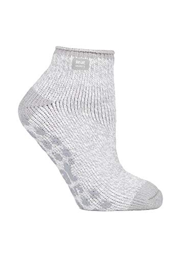 HEAT HOLDERS - Damen Kurz Unsichtbar Abs Thermo Sneaker Socken 37-42 eur (Light Grey Cream)