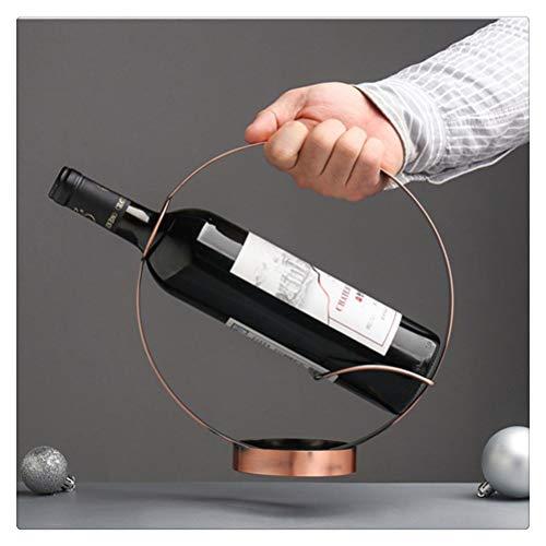 Aiglen European Retro Iron Art Round Wine Rack Soggiorno Wine Cabinet Desktop Wine Holder Decorazione domestica Wine Stand Gift (Color : Copper)