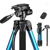 Trípode de Cámara (53cm-182cm), Trípode Liviano de Aluminio, Trípode Plegable con 2 Placas de Liberación Rápida, Compatible para Cámara Digital SLR Canon Nikon Sony con Bolsa de Transporte - Azul