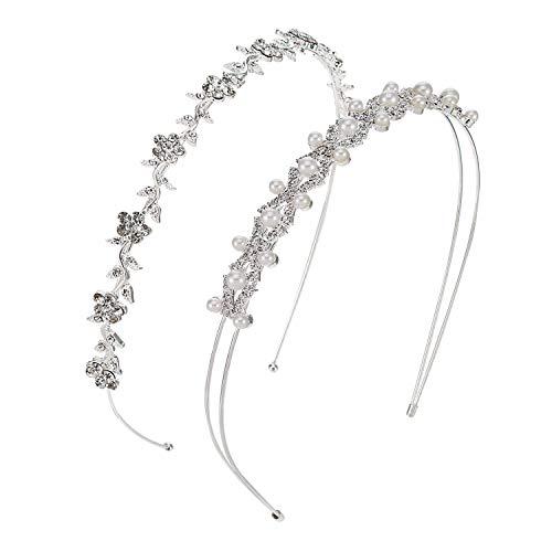 2 Stück Hochzeit Party Faux Perlen Strass Kopfband der Frau Blumen und Blätter Krone Haarband für Braut Brautjungfern