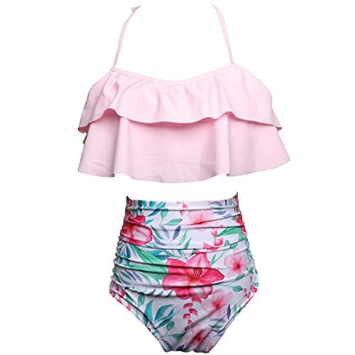 AOWKULAE Little Girls Bikini Swimsuits Two Pieces Ruffle Flounce Swimwear Bathing Suits, Pink, 4-5 Years = Tag 116