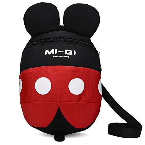 Mochila con arnés de seguridad para bebés y niños con correa de dibujos animados para el hombro, mochila con arnés de correa, cinturón de fijación. rojo Black+Red