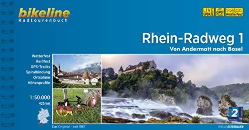 Rhein-Radweg 1: Andermatt - Basel GPS-Tracks-Download, wetterfest/reißfest (Bikeline Radtourenbücher): Von Andermatt nach Basel, 1:50.000, 425 km