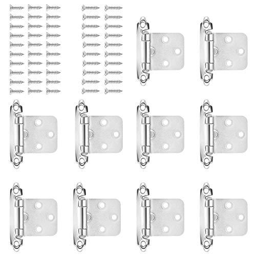 HSEAMALL 5 Paar selbstschließende Schrankscharniere, Küchenschranktürscharniere mit Schrauben für Heimmöbel, Silber