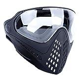 OAREA máscara táctica de Cara Completa para Casco de Airsoft con Gafas Protectoras reemplazables y Conector para Casco, BK