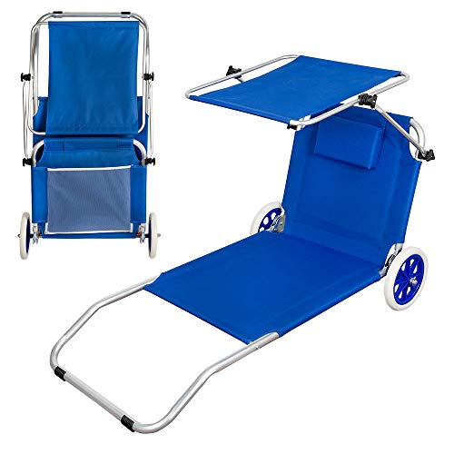 Aktive 62610 - Tumbona carrito de playa plegable 2 en 1 Beach