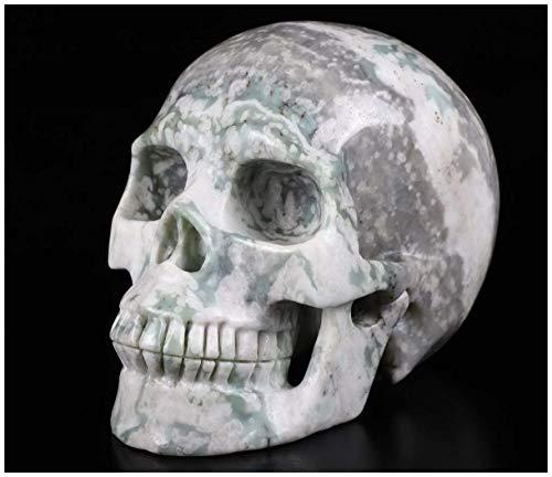 Skullis 5.0' Peace Jasper Crystal Skull, Hand Carved Gemstone Fine Art Sculpture, Reiki Healing Stone Statue.5315