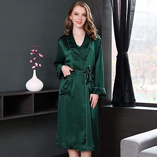 SMYFM Albornoz Vestido de Bata de baño para Mujer Ropa de Dormir Seda Kimono Natural Albornoz Vestido de Noche Femme Casual Primavera Ropa de hogar Bata de Dormir, Verde, L