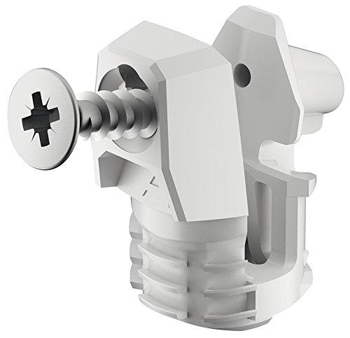 Gedotec achterwandconnector voor houtdikte vanaf 15 mm meubelverbinder Ixconnect RPC S 15/25 | corpusconnector voor insteken in de groef | lengte: 20 mm | 10 stuks – kastverbinders kunststof wit
