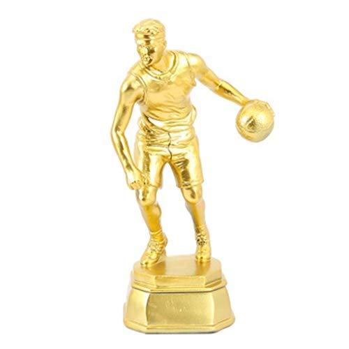 HFJKD Trofeo, Baloncesto Partido Trofeo Campeones Deportivos Trofeo Suministros para fanáticos del Baloncesto MVP Trophy Bar Club Decoración, Oro, 24.5 * 9 cm