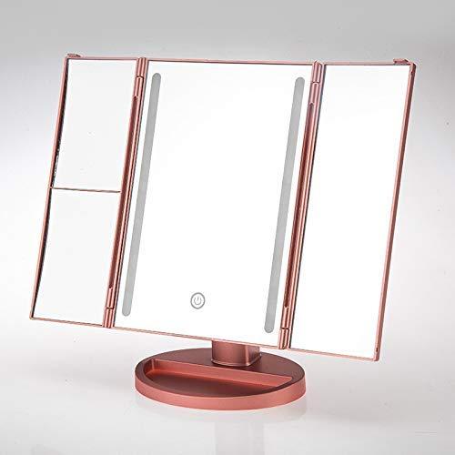 CENPEN Tri-Fold con luz Espejo de baño, 16 luces LED de la pantalla táctil del espejo de doble alimentación del modo de mesa de maquillaje cosmético del recorrido Espejo Espejo (de oro rosa)