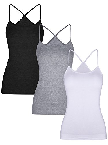 Boao 3 Pieces Women Camisoles Seamless Basic Stretch Cami with Y-back Spaghetti Strap Tank Tops, 3 Colors (S Size)