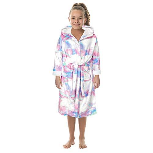 Albornoz infantil de franela, pijama, chaqueta, chicos y chicas, estampado de dibujos animados Blanco M