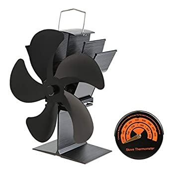 gohantee 5-Blades Fireplace Stove Fan Silent Motors Heat Powered Circulates Warm/Heated Air Eco Stove Fan with Thermometer for Gas/Pellet/Wood/Log Stoves