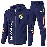 bo Erkan de Los Hombres Chandal Colocar Joing Traje Real-Madrid Encapuchado Cremallera Chaqueta + Pantalones Corriendo Ropa Seco/Blue/L
