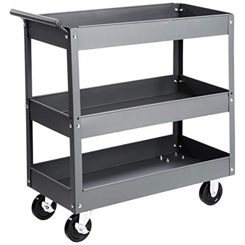 AmazonBasics – Multifunktionaler Materialwagen mit Stahlwanne, 3 Regalböden, mit 250 kg Traglast, grau