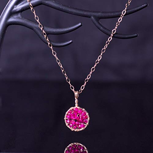 Genuine Ruby Pendant Necklace July Birthstone 40th Anniversary Jewelry in 14k Gold Fill Wire