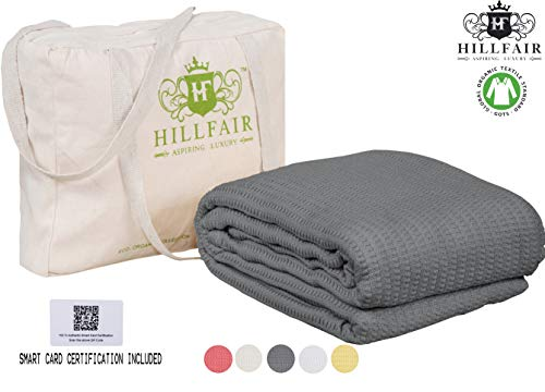 HILLFAIR 100% GOTS Certified Organic Cotton Winter Blanket- Queen Size Bed Blankets- All Season Cotton Blanket- Mist Grey Queen Blanket- Soft Multipurpose Queen Blankets - Organic Cotton Bed Blankets