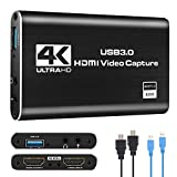 IPXOZO Audio Video Capture Card,4K HDMI USB 3.0 Capture Adapter 1080P 60fps Video Capture Device Portable Video Converter for Gaming Streaming Live Broadcast Video Recording,Support PS4 Xbox Camcorder