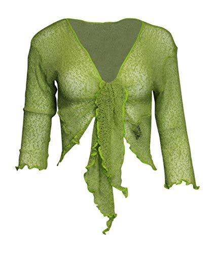Rebeca estilo bolero simple, de punto, corta, con lazada Verde verde lima Talla única
