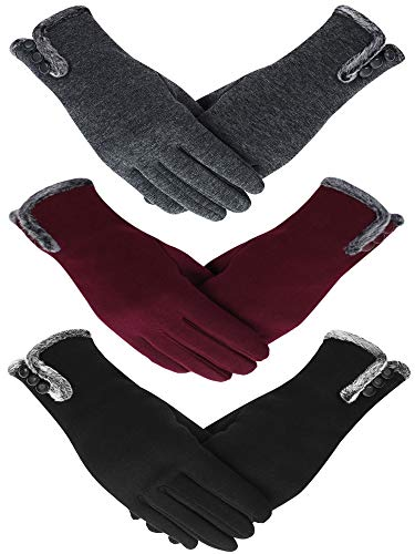 Patelai 3 Pairs Women Winter Gloves Warm Touchscreen Gloves Windproof Gloves for Women Girls (Black, Gray, Wine Red)