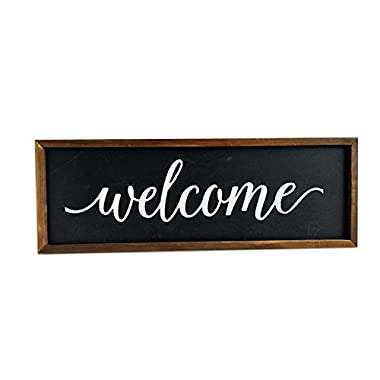 CASAJOY Wall Hanging Welcome Sign | Wooden Decorative Farmhouse Rustic Sign | 16 x 5.5 Inches