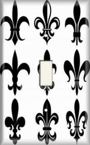 Black Double Light Switch Cover-Plate Cast Iron-Fleur De Lis-Decorative-French Country-Texas Home Decor-Bright Metal-Wall Decor