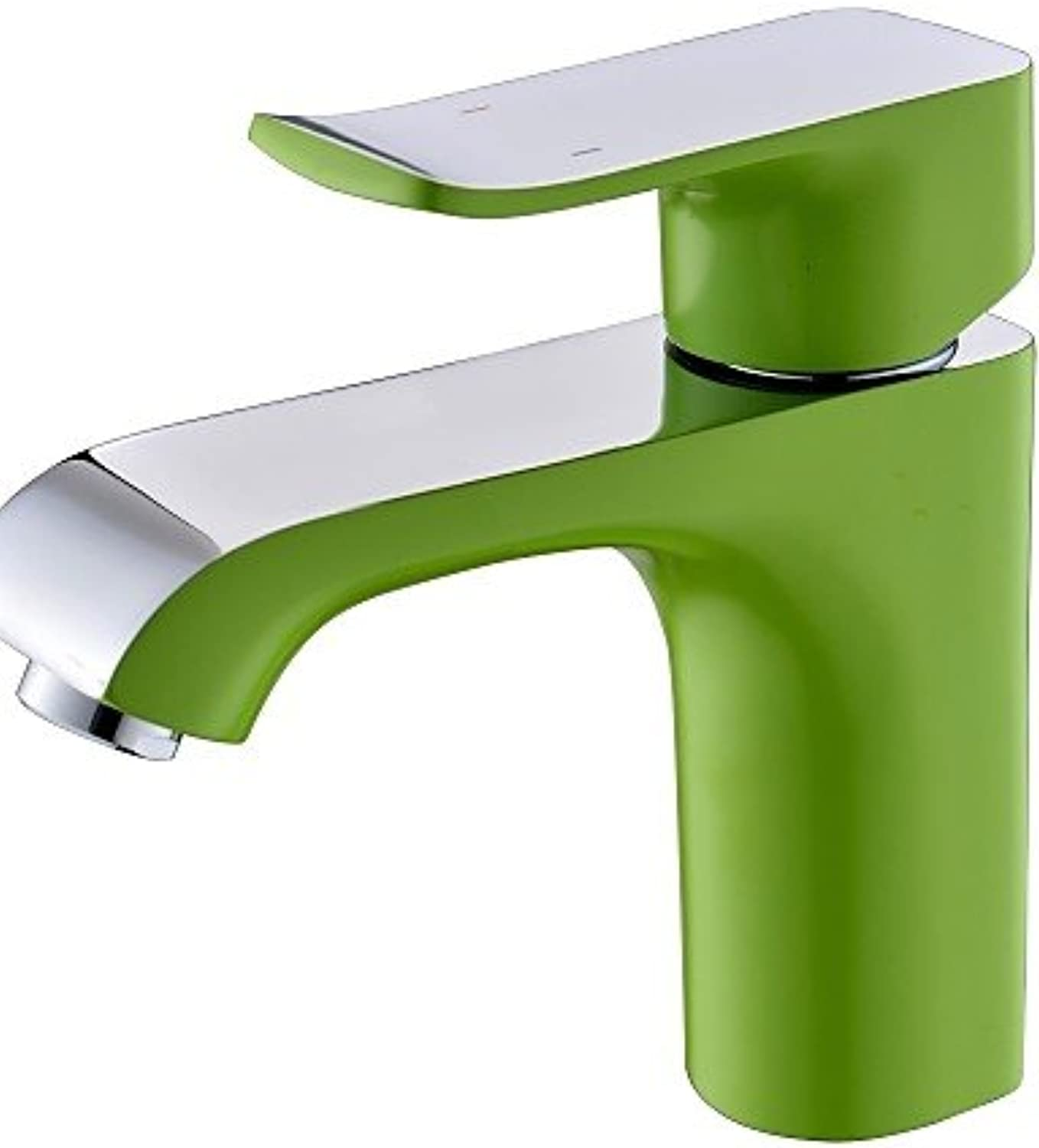 Contemporary Green Painting One Hole Single Handle Bathroom Sink Faucet