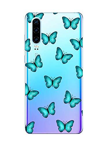 Oihxse Transparante beschermhoes met vlindermotief, compatibel met OnePlus 3/OnePlus 3T, beschermhoes van zachte TPU-gel, modieus, 3D-tekening, ultradun, schokbestendig, krasbestendig, blauw 1