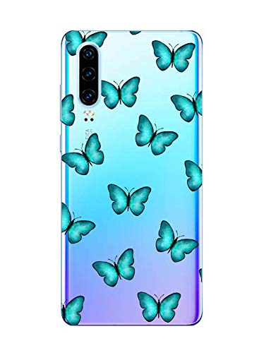 Oihxse Silicone Transparente Case avec Motif Papillon Compatible pour OnePlus 5T Coque Souple TPU Gel Mode 3D Dessin Étui Ultra Mince Antichoc Anti-Rayures Protection Cover,Bleu 1