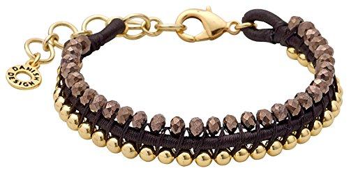 Pilgrim Armband mit Perlen braun-Gold