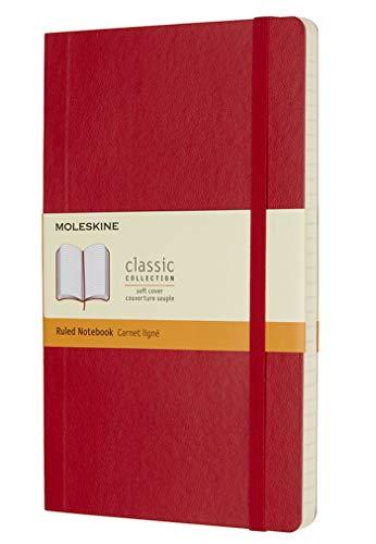 Moleskine Classic Notebook, Taccuino a Righe, Copertina Morbida e Chiusura ad Elastico, Formato Large 13 x 21 cm, Colore Rosso Scarlatto, 192 Pagine