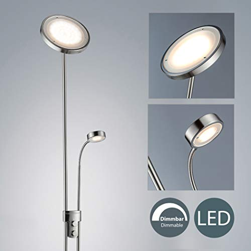 Lámpara de pie de salón I Modernas LED I Regulable I Lámpara de lectura I 21 W I Altura total: 1800 mm I Color de la luz blanco cálido I Brazo giratorio I 230 V I IP20