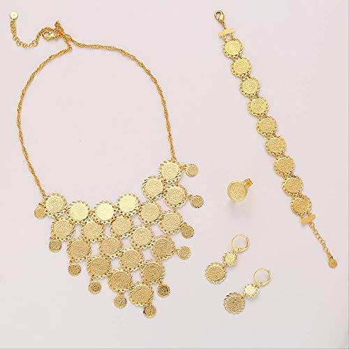 Nobrand Exquisite Braut Hochzeit Gold Farbe Muslimische Münze Halskette Ohrringe Ring Armband Sets Für Frauen Nahost Arabischen Schmuck Geschenk