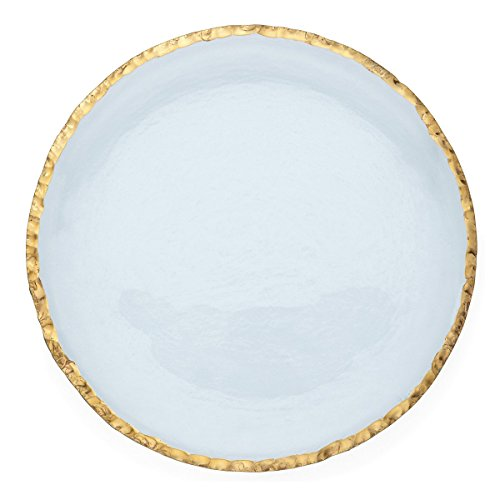 """Annie Glass Edgey Gold Charger plate 12"""" round platter #e108g"""