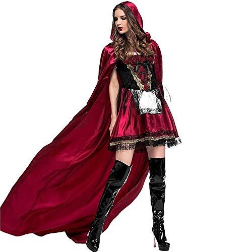 Cicongzai Halloween jurk dames roodkapje jurk grappig Halloween kostuum set met capuchon sjaal