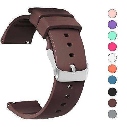 JIELIELE Silikon Uhrenband mit Schnellverschluss für Klassische Uhr 22mm und Smartwatch 22mm für Samsung Gear S3 Frontier / S3 Classic/Gear 2 / LG Watch/Pebble/Moto 360 2nd Gen 46mm (22mm, Brown)
