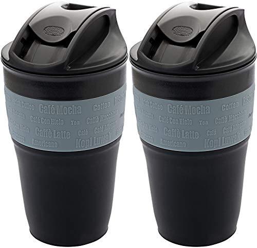 AceCamp 2 x Faltbarer Kaffeebecher Coffee to go Becher wiederverwendbar komprimierbar auslaufsicher mit Deckel, 355ml, 1539