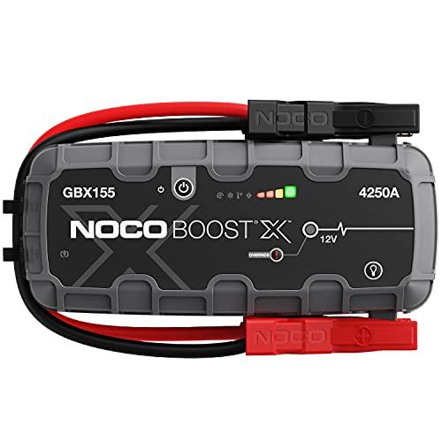 NOCO Boost X GBX155, 4250A 12V UltraSafe Arrancador de Litio, Bateria Booster Profesional, Cargador Powerbank y Cables de Arranque de Coche por Gasolina de hasta 10.0 litros y Diésel de 8.0 litros