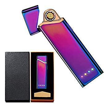Electronic Lighter Electric USB Lighter Windproof Rechargeable Slim Coil Lighter with Smart Fingerprint Sensor Double Side Ignition,Power Indicator Flameless Boyfriends Gifts