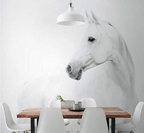 LLDKA 3D wit paard reus muurschildering poster kinderen slaapkamer huisdecoratie tiener jongens en meisjes