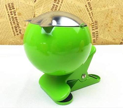 Oiuytghjkl Posacenere con coperchio in metallo cromato Verde